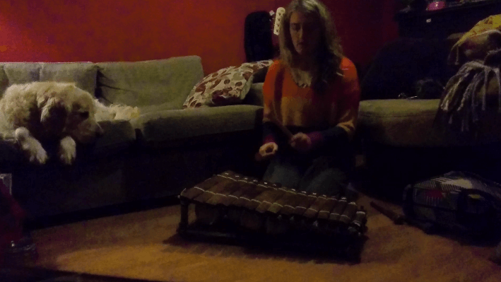 Lisa with her new balafon